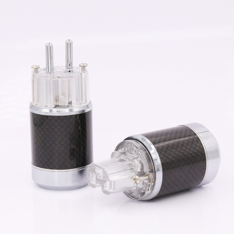 цена на Free shippinge one Pair Carbon Fiber Rhodium Plated EU Schuko Power Plug Male Female Power Connector hifi