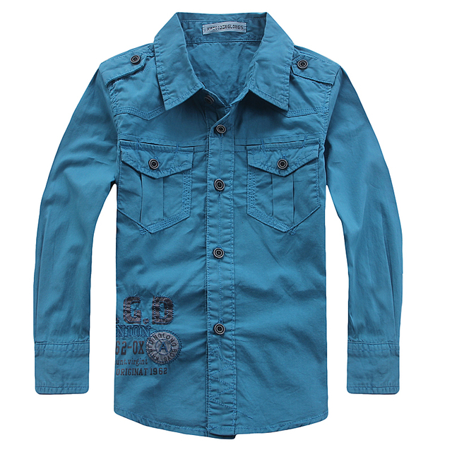 TZCZX-3025 Military style Children Boys Shirts Print Letters 100% Cotton Full Shirts For 4-10 years Old kids Wear Clothes