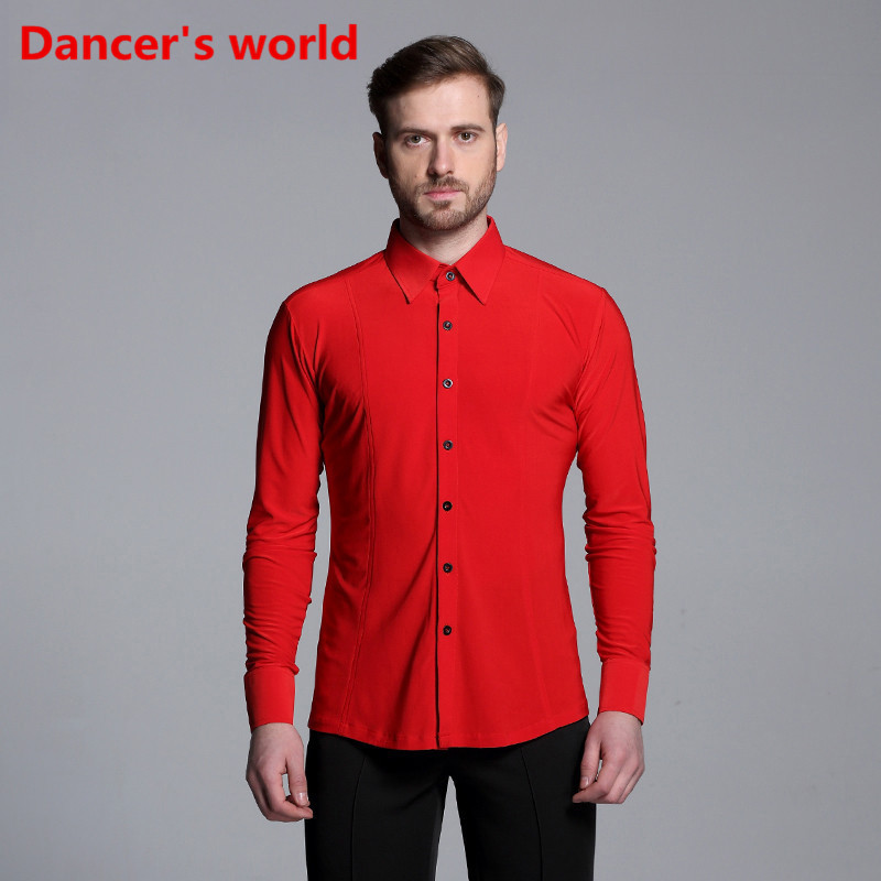New Short Sleeves Button Mens Latin Shirts Dance Top Ballroom Latin Dance Costumes Stage Clothing For