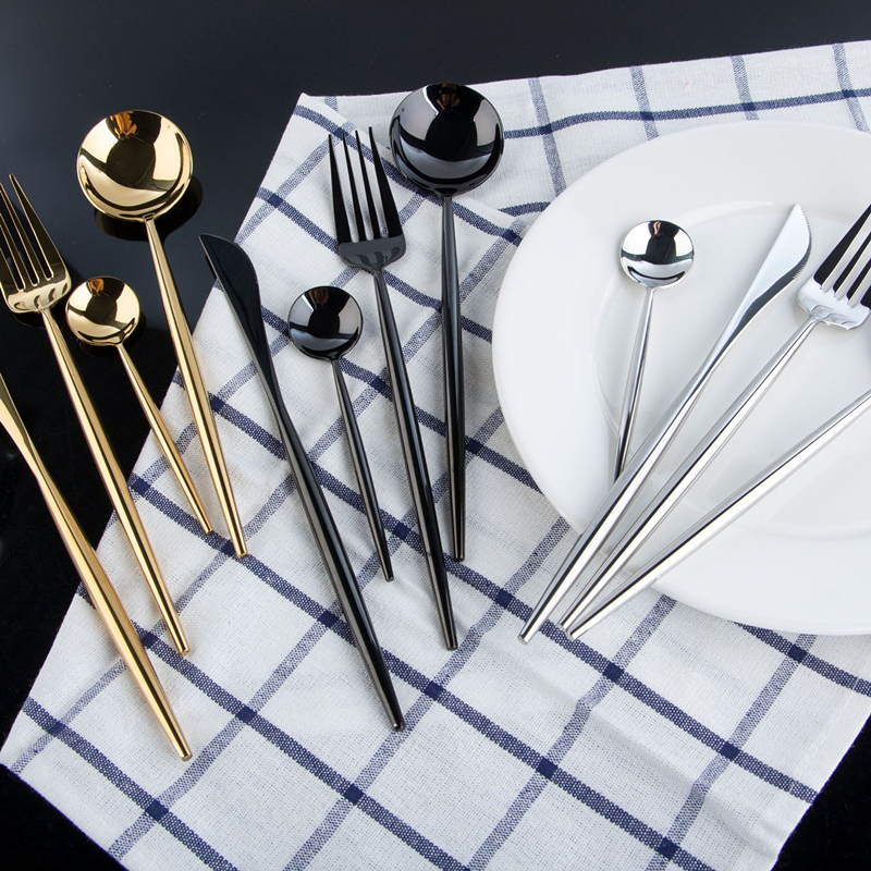 KuBac Hommi 24Pcs Shiny Dinnerware Set 18 10 Stainless Steel Smooth Gold Cutlery Set Mirror Black