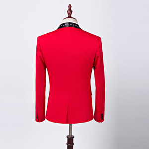 Image 3 - تصميم جديد للرجال من PYJTRL سترة بتصميم كلاسيكي مرصعة بالكريستال وطية صدر السترة باللون الأحمر بقصة ضيقة مناسبة لحفلات الزفاف