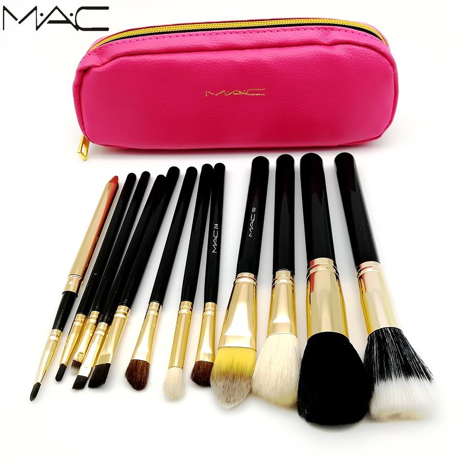MAC 12 pcs Makeup Set Powder Foundation Eye shadow Make Up Cosmetics Soft Synthetic Hair With PU Leather Bags 10 pcs soft synthetic hair make up sets