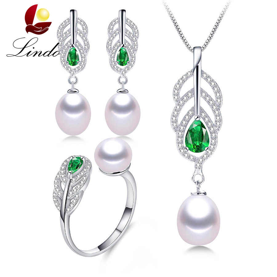 2019 Most fashionable Natural Pearl sets for women AAAA high quality silver necklace earrings ring Green crystal 4 colors LINDO