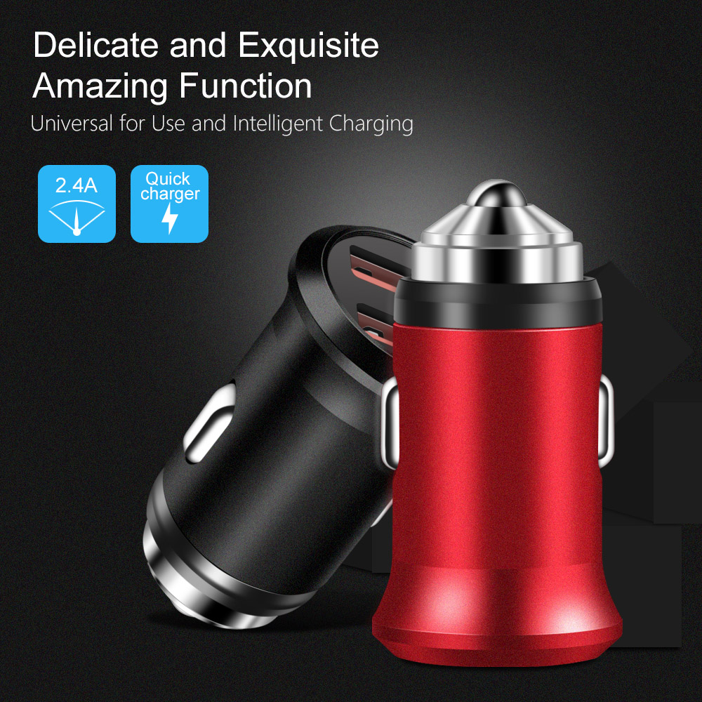 Marjay Dual USB Car Charger 5V 2.4A Mini Car Phone Charger Adapter in Car For Samsung Xiaomi Mobile Phone Tablet GPS Chargers (1)