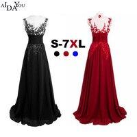 Plus big size 7XL blue Evening long lace mesh Women Dresses floor length Slim vestido prom Formal Special Occasion Dress ouc1108