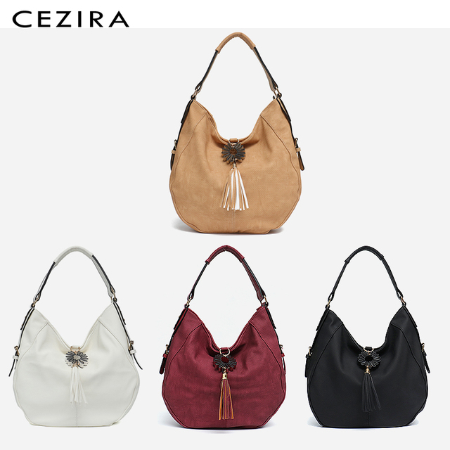 CEZIRA Womens Bag Single Shoulder Bag New Handbag of 2018 Flower Tassel Large Capacity Hobo Female Round Shoulder&Messenger Bag 2