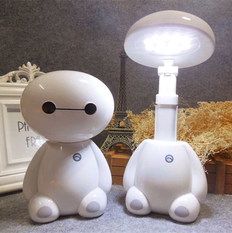 Lovely Cartoon LED Rechargeable Baymax Desk Lamp Flexible Length 12LED 220V Modern Reading Lamp for Student Eye Protection