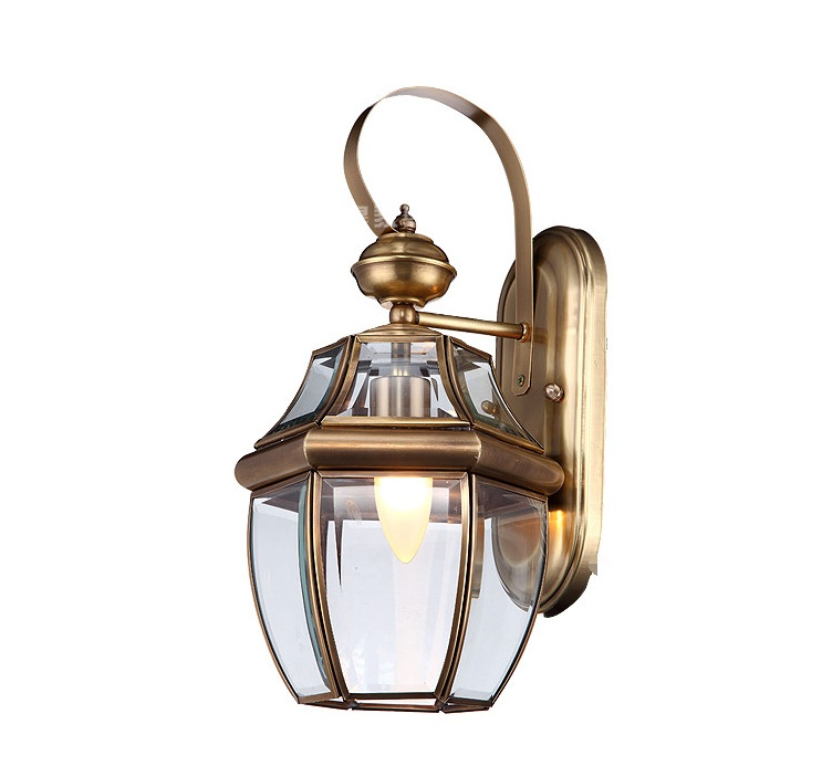 ФОТО European style all copper lamp waterproof outdoor outdoor balcony aisle porch lamp copper wall lamp