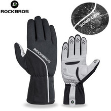 ROCKBROS Winter Cycling Gloves Full Finger Windproof Thermal Anti-slip Pad Warm Motorcycle MTB Bicycle Gloves Cycling Equipment