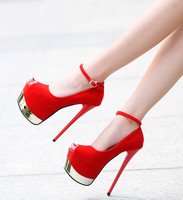 2018 new sexy high heel waterproof platform stiletto suede 17cm fish mouth ladies single shoes.