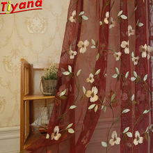 купить Blue Floral Tulle Curtain Sheer Curtain Eyelets Valance Embroidered Window Sheer Red Panel Window Curtain Set Hot Sale Wine Red/Blue Embroidery Flower Yarn Curtains for Balcony WP274 *30 по цене 605.72 рублей