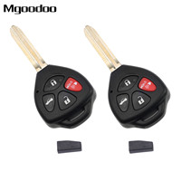 2Pc 4 Buttons Replacement Remote Car Key Fob Shell With Chip For Toyota Camry 2007 2009