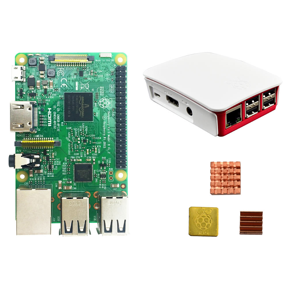 Raspberry Pi 3 Model B + Original Pi 3 Case + Heatsinks Pi3 B / Pi 3b With Wifi & Bluetooth