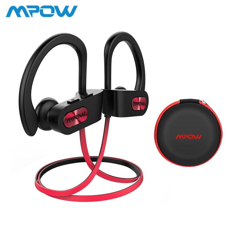 Mpow llama IPX7 impermeable Bluetooth 4,1 auriculares cancelación del ruido auriculares HiFi estéreo de Auriculares deportivos inalámbricos con micrófono caso