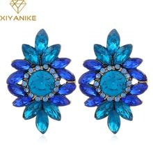 XIYANIKE  New Colorful Flower Big Brand Design Luxury Acrylic Crystal Gem Earrings For Women Statement Jewelry Gift Brinco E589