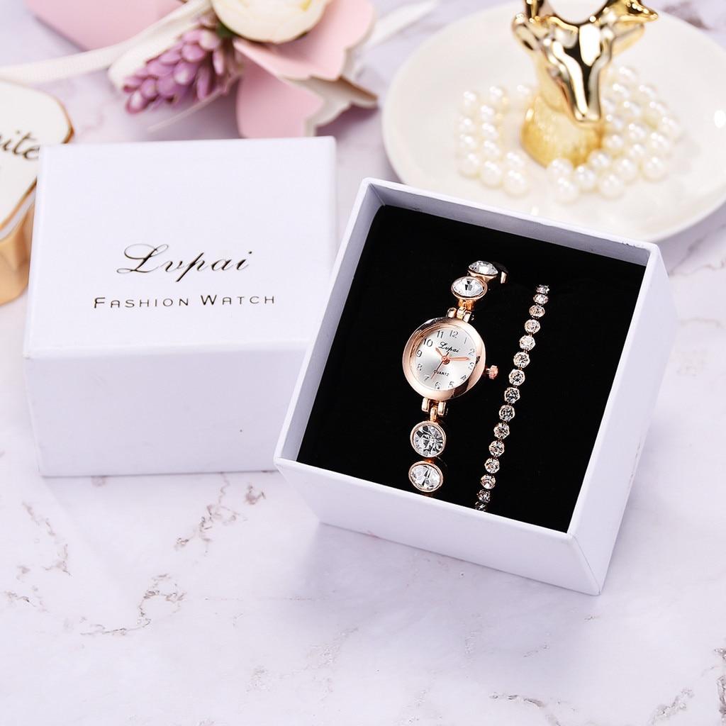 3pcs/Set Luxury Fashion Simple Dial Steel Strip Watch Women Full Diamond Bracelet Watches Quartz Relogio Wristwatch with Box portable media player