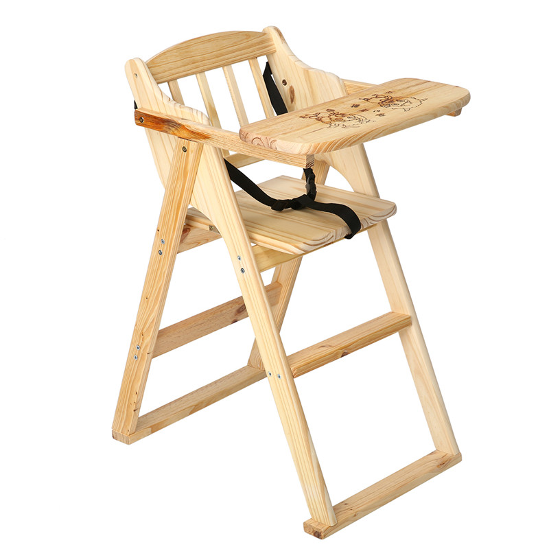Pine Wooden Baby High Chair Folding Portable Baby Booster Seat Kids