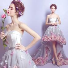 цена на Fallen floral petal formal Evening Dresses short tulle wedding Party dresses for graduation Elegant Vestido De Festa Prom Gowns