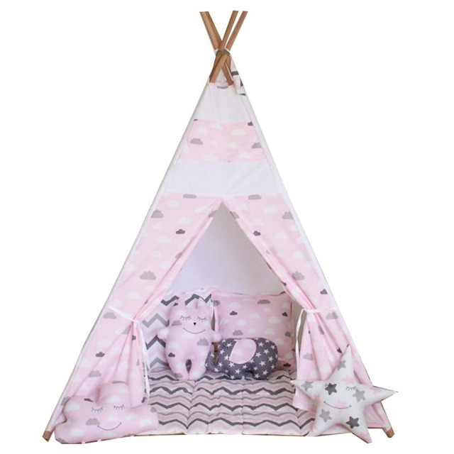 free love pink cloud kids play tent indian teepee. Black Bedroom Furniture Sets. Home Design Ideas