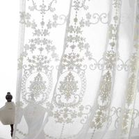 High Grade White Floral Embroidered Screens Cotton Gauze Curtain Custom Tulle For Window Office Living Room