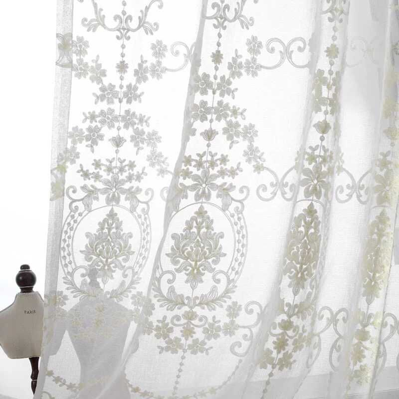 High Grade White Floral Embroidered Screens Cotton Gauze Curtain Custom  Tulle For Window Office Living