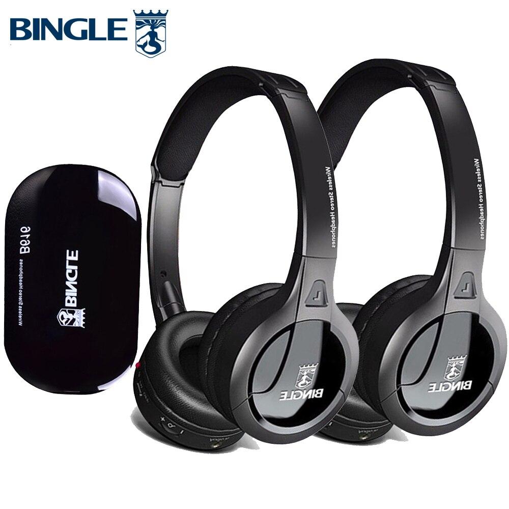 Bingle B616 2 pièces Casques/Set Extra Bass Sur L'oreille Sans Fil Ecouteur RF Sans Fil Casque Pour D'écoute Tv Théâtre Familial