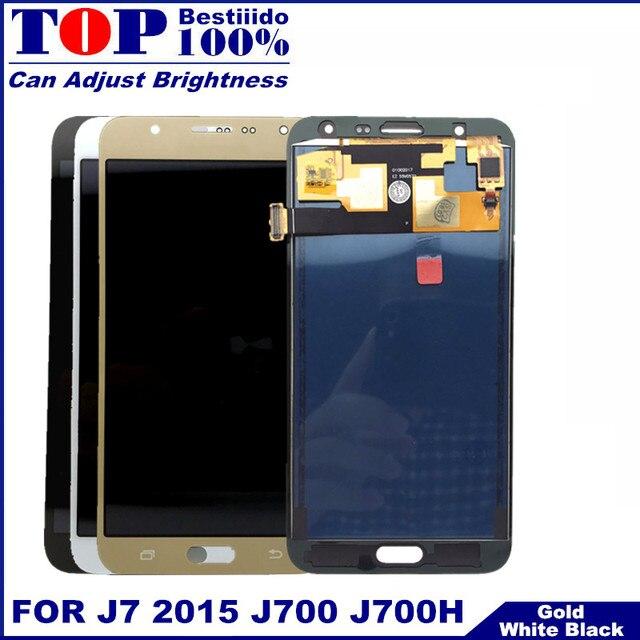 اختبار سطوع التحكم شاشة عرض لسامسونج غالاكسي J7 2015 J700 J700F J700H مجموعة رقمنة اللمس LCD استبدال