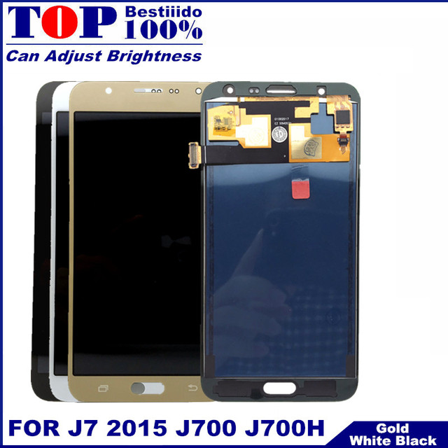 Tested Brightness Control Display For Samsung Galaxy J7 2015 J700 J700F J700H Screen Touch Digitizer Assembly LCD Replacement