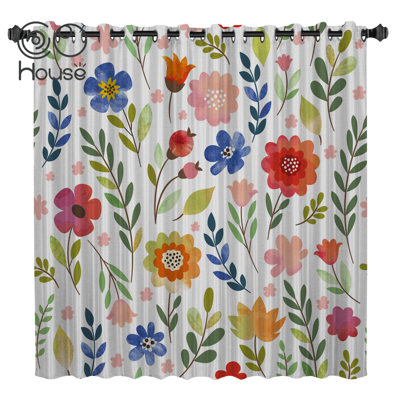 COCOHouse Illustration Cartoon Flower Floral Spring Window Curtains Dark Bathroom Curtains Kitchen Bedroom Kids Window Treatment