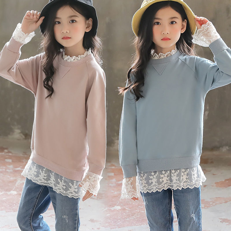 все цены на Lace Patchwork Toddler Girl Sweatshirt Blue Pink Long Sleeve Tops Hoodies Girls Teen Autumn Winter Spring School Clothing 2018