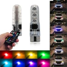 T10 W5W 194 5050 светодиодный RGB огни автомобильный интерьерный клиновидный боковой зазор сигнала лампы дистанционного управления многоцветные лампы комплект