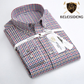 Spring 2017 Men's 100% Cotton Small Plaid Brushed Flannel Shirt Long Sleeve Comfort Soft Slim-fit Casual Button-down Shirt