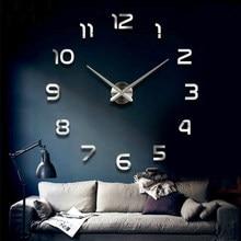 Moda 3D büyük boy duvar saati ayna sticker DIY kısa oturma odası dekor toplantı odası duvar saati