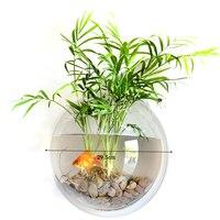 Behokic Dia23cm/29.5 cm Okrągłe Akrylowe Naścienny Miskę Ryb Zbiornika Akwarium Wazon Kwiat Roślin Wodnych Wodnych Pet Dostawca rybak