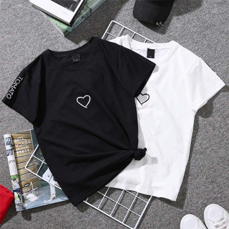 Couples Lovers T-Shirt for Women Love Heart Embroidery Print T-Shirt Female 19