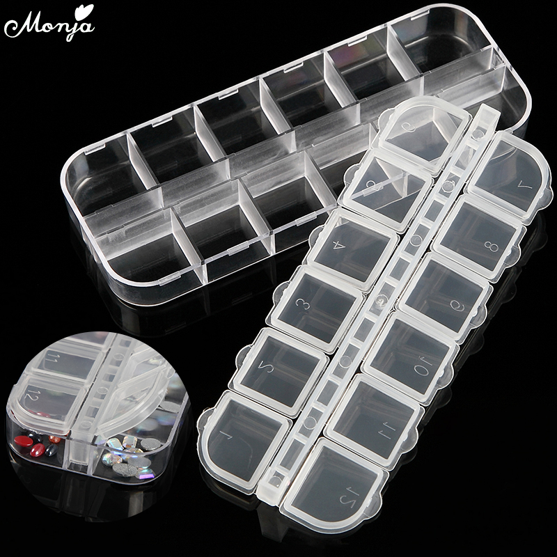12 Grid Nail Art Clear Empty Plastic Storage Case Rhinestone Bead Dried Flower Earring Jewelry Box Container Manicure Kit Holder