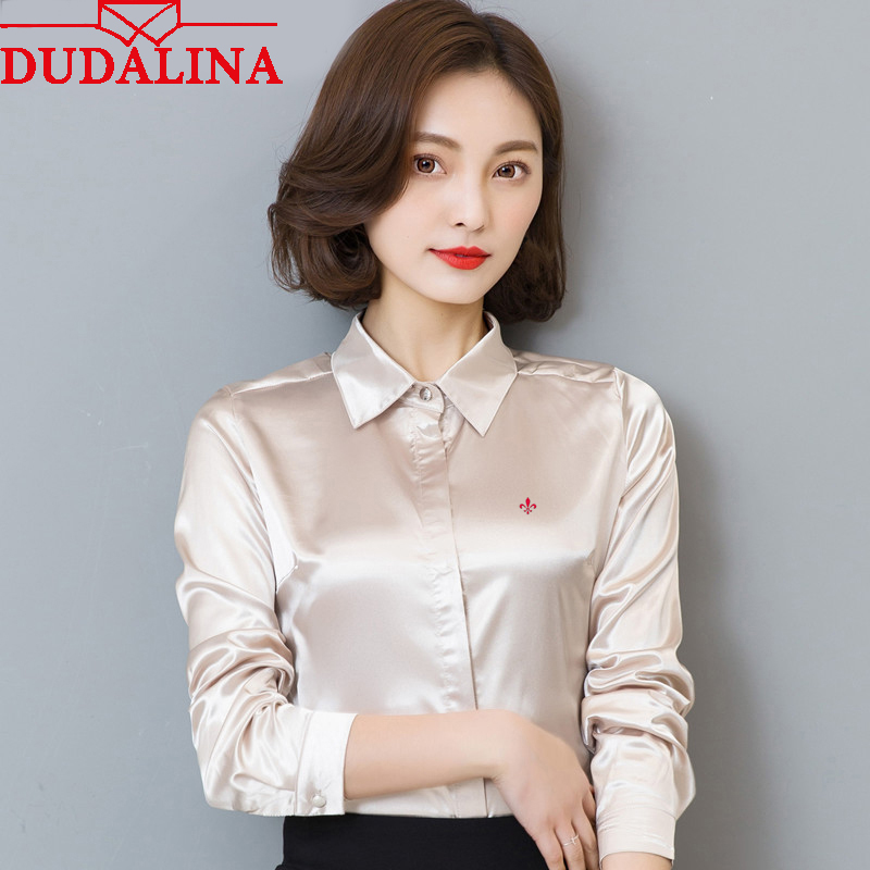DUDALINA 2020 New Women Blouse Shirt Embroidery Female Blouses Silk Shirts Casual Spring Summer Tops Women Clothing Blusas
