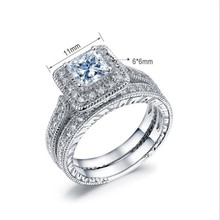 2018 BFQ Hot Sale Silver 925 Ring Engagement Women's Square Diamond Ring Fine Jewelry Fast Shipping