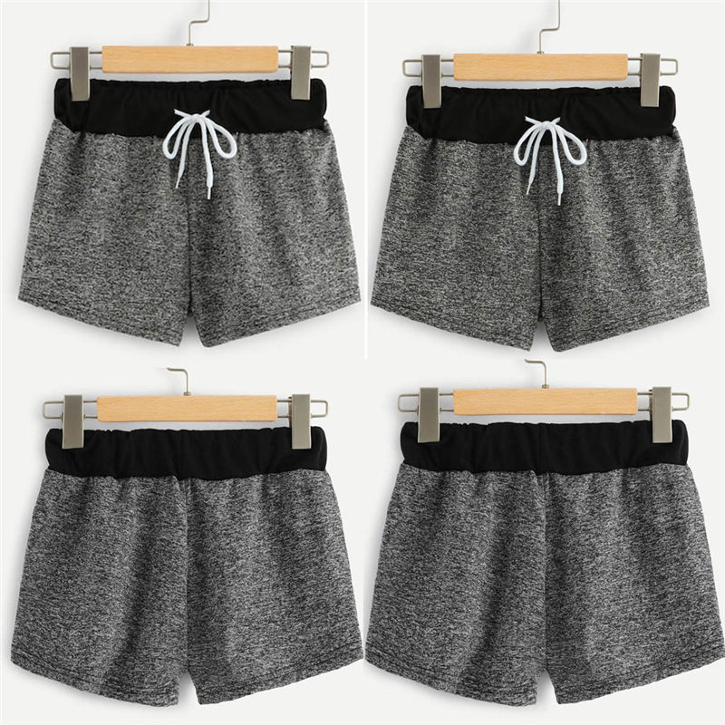Summer Shorts Elastic Casual Fashion Solid Lace-Up Mid Bandage Mid-Waist Fmme Spodenki