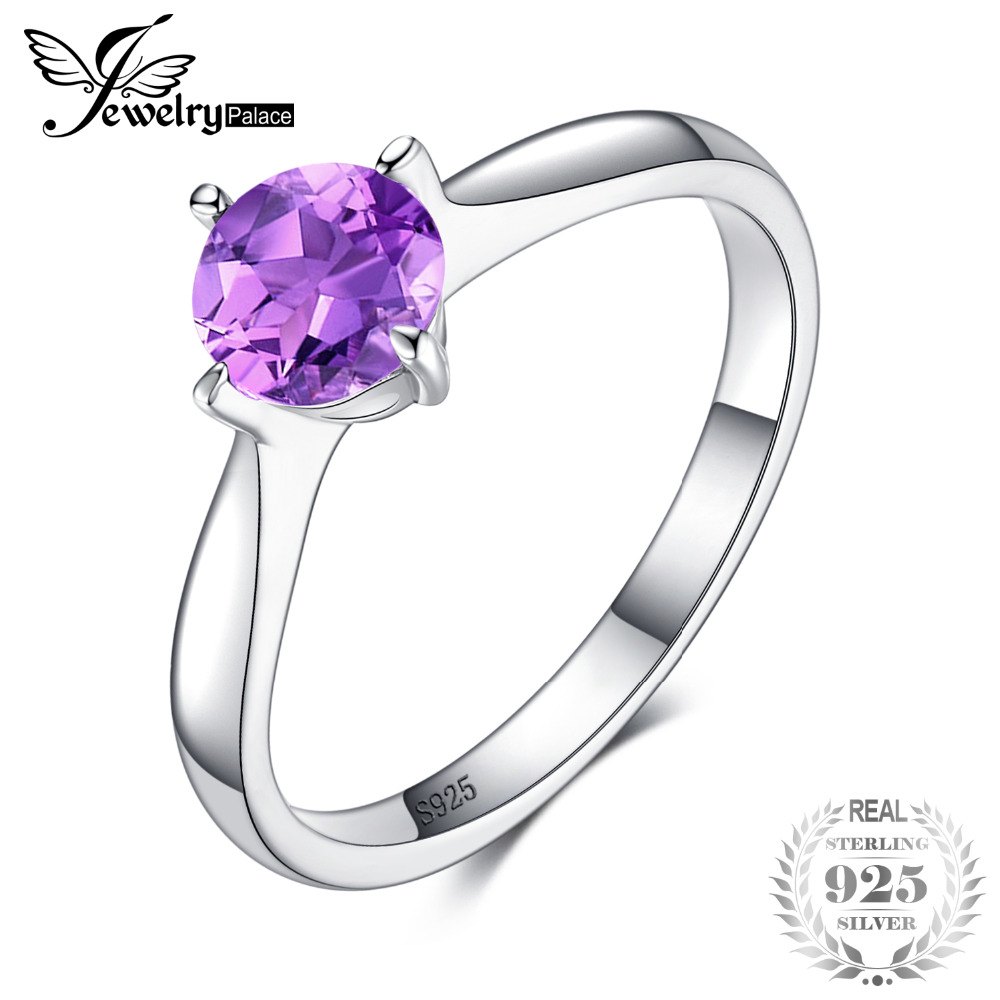 JewelryPalace Classic Round Genuine Purple Amethyst Solitaire Engagement Ring For Women 925 Sterling Silver Jewelry Gift jewelrypalace trillion 1 1ct natural purple amethyst solitaire ring 100% 925 sterling silver women fashion jewelry big promotion