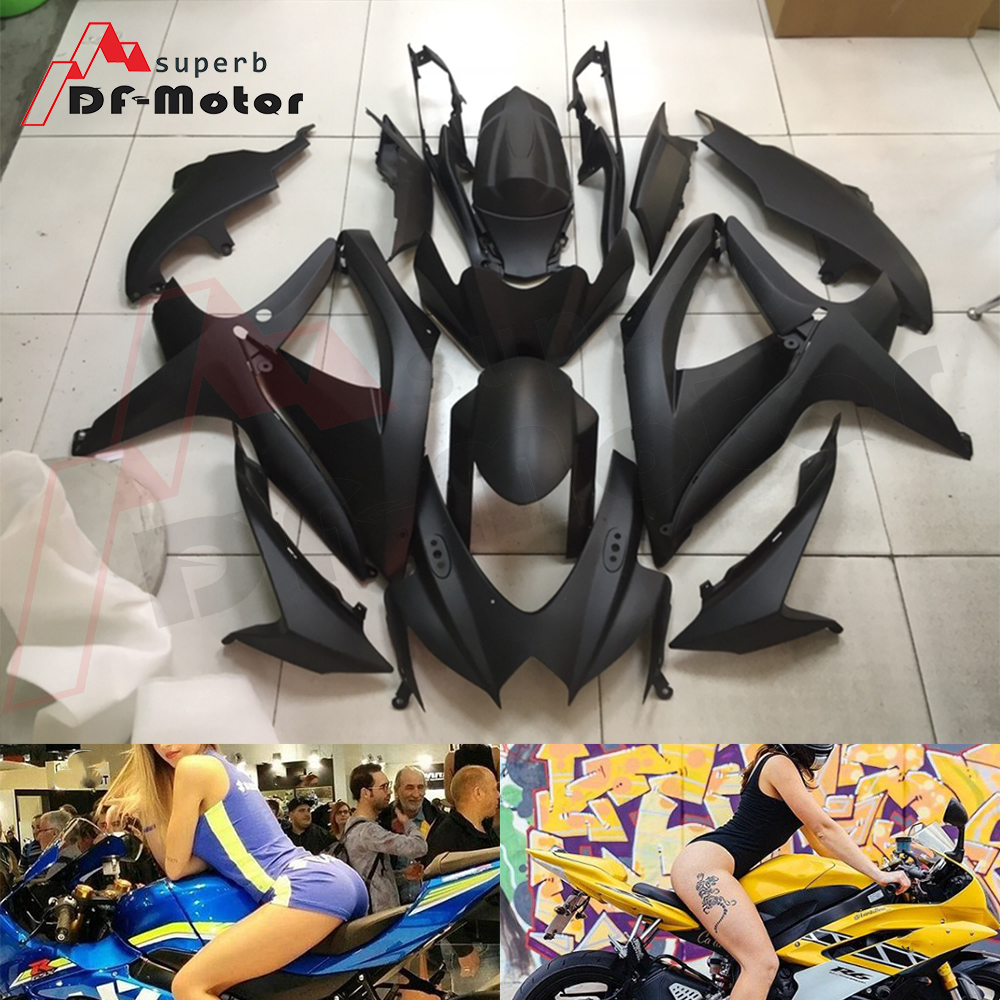 Full <font><b>Fairing</b></font> <font><b>Kit</b></font> ABS Bodywork <font><b>Fairing</b></font> <font><b>Kit</b></font> for <font><b>SUZUKI</b></font> GSX-R <font><b>600</b></font> 750 2008 2009 2010 <font><b>GSXR</b></font> Matte black 08 09 10 K8 image