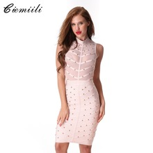 CIEMIILI 2017 Women Prom Party Summer Mesh Bandage Dress Studded Button Sleeveless Knee-length Celebrity Cocktail Bodycon Dress