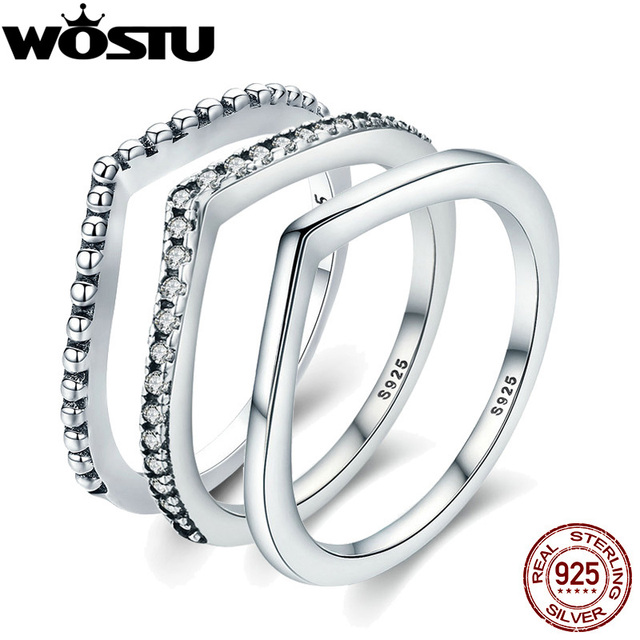 WOSTU 2018 New 100% 925 Sterling Silver Shimmering Wish Stackable Finger Ring Fo