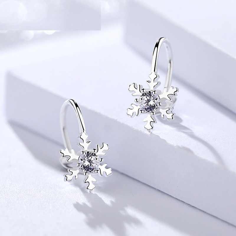 Fine Jewelry Genuine 925 Prata Esterlina Brincos de Neve Feminino Hoop Brincos clipe Para As Mulheres AAAAA Cubic Zircon pedra Atacado