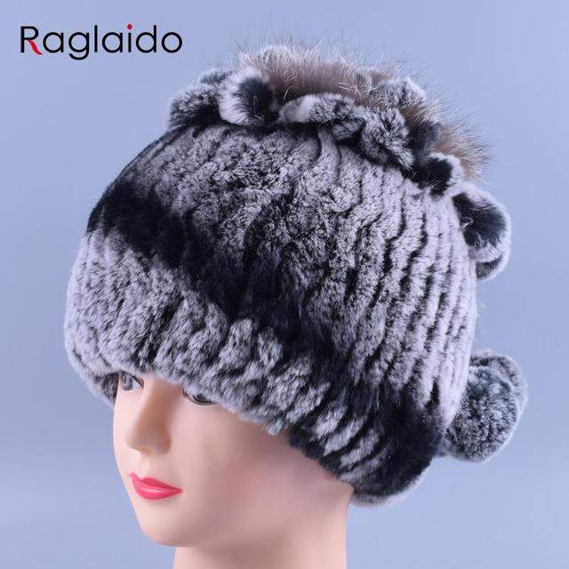721366851151a Exclusive Design Raglaido 3Colors Women s Winter Hat Made of Knitted Fur  Rex Rabbit +Fox Fur