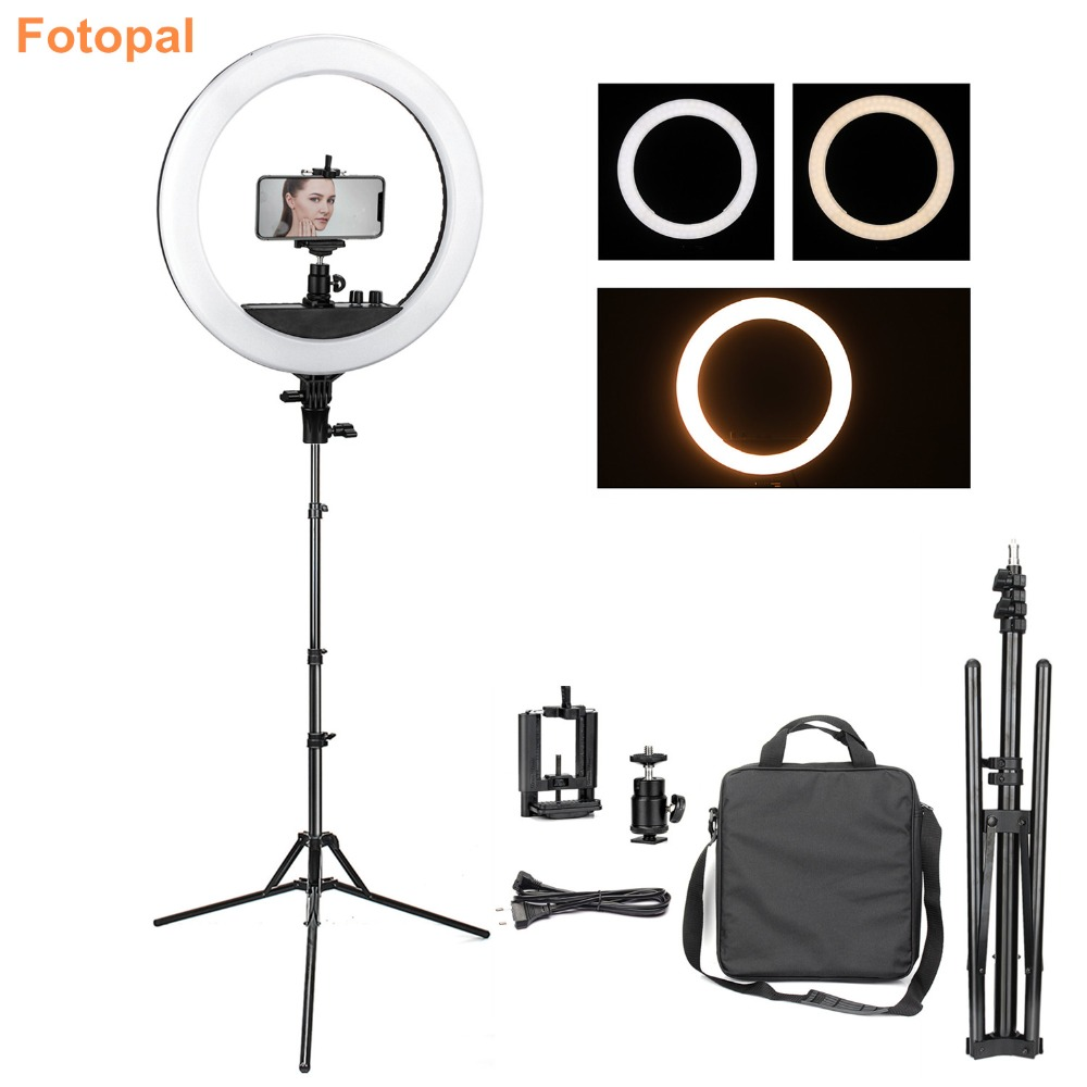 Fotopal Led Ring Light For Makeup Youtube Dimmable Annular Phone Video Photo Lamp Mobile Studio Photography