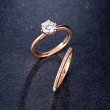Fashion Wedding Double Ring Set For Women Cubic Zirconia Female Engagement Rings Party Jewelry