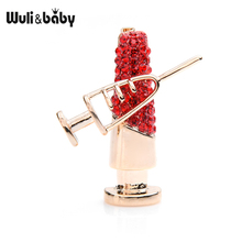 Wuli&baby Sparkling Red Czech Crystal Copper Needle Nurse Doctor Brooch Pins Gift