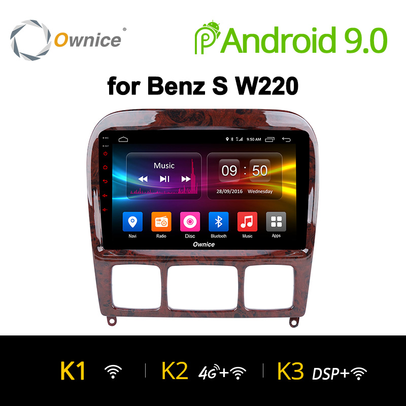 Ownice K1 K2 K3 9.0 Android para Mercedes/Benz/S280/S320/S350/S400/S500 /W220/W215/C Classe S 2din Carro DVD Player GPS Rádio stereo