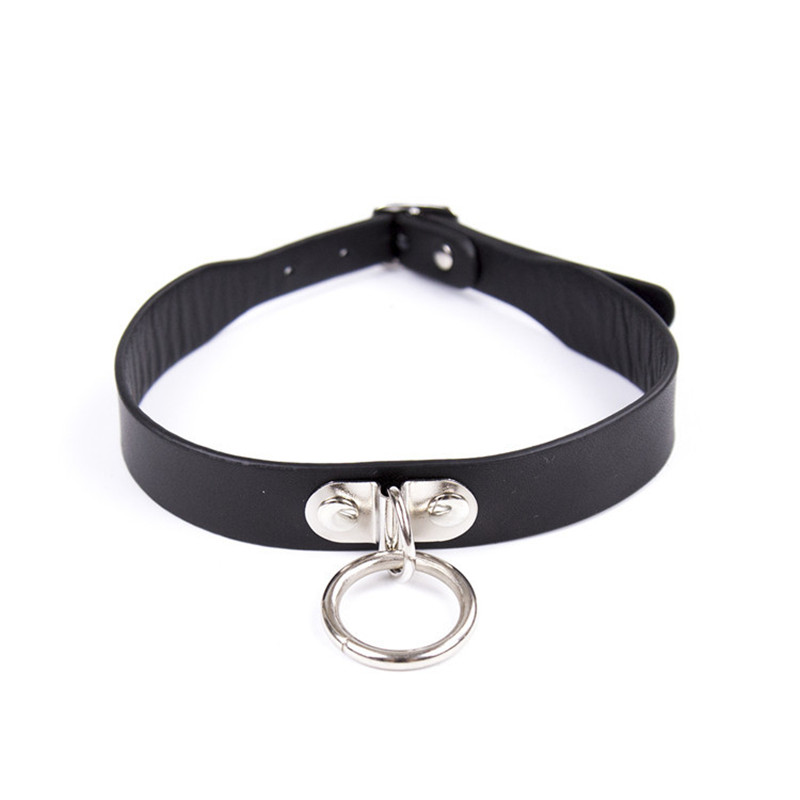 Multi Purpose Faux Leather Ring Dog Collar Sexy Ornament Necklace Sm Slave Game -9399
